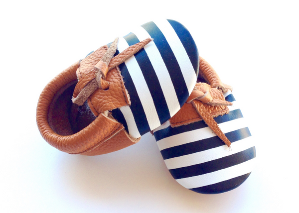 Baby Moccasins - Brown, Black and White with Laces