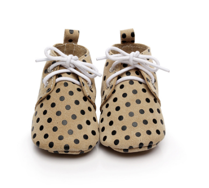 Baby Lace Up Oxford - Beige Polka Dot