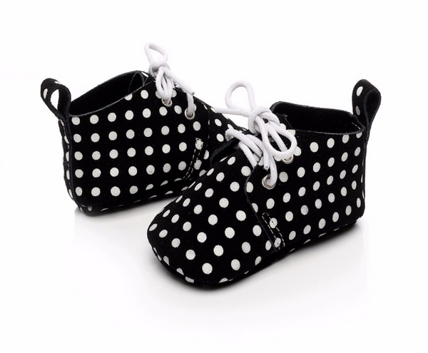 Baby Lace Up Oxford - Black Polka Dot