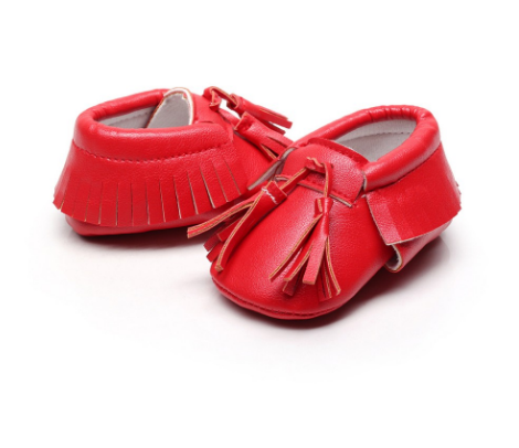 Baby Tassel Moccasins - Red