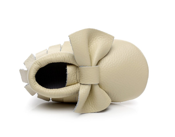 Baby Moccasins - Beige/Cream Leather with Bow
