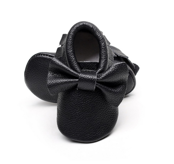 READY TO SHIP Baby Moccasins - Black Leather with Bow