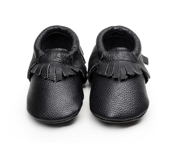 Baby Moccasins - Black Leather with Fringe
