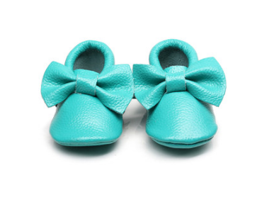 Baby Moccasins - Teal Blue Leather with Bow