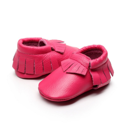 Baby Moccasins - Hot Pink Leather with Fringe