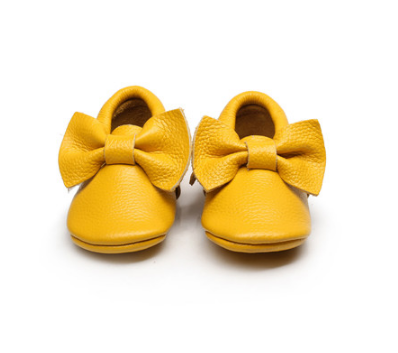 Baby Moccasins - Mustard Yellow Leather with Bow