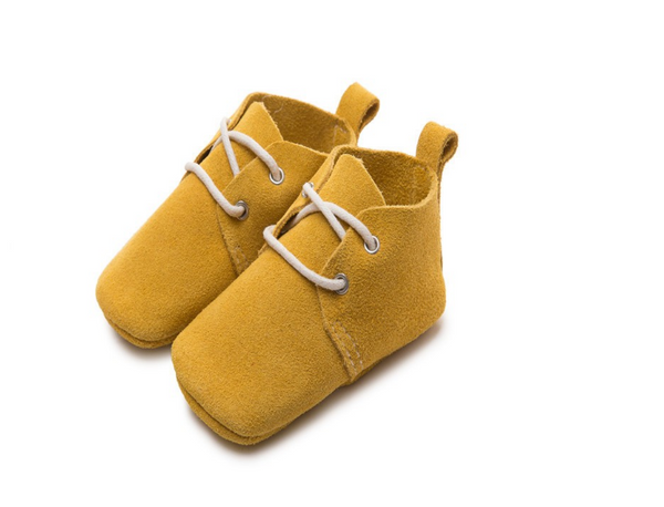 Baby Lace Up Oxford - Mustard Yellow Suede