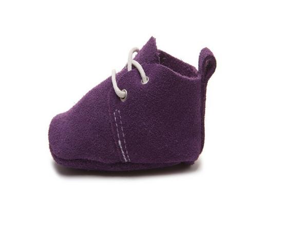 Baby Lace Up Oxford - Eggplant Purple Suede
