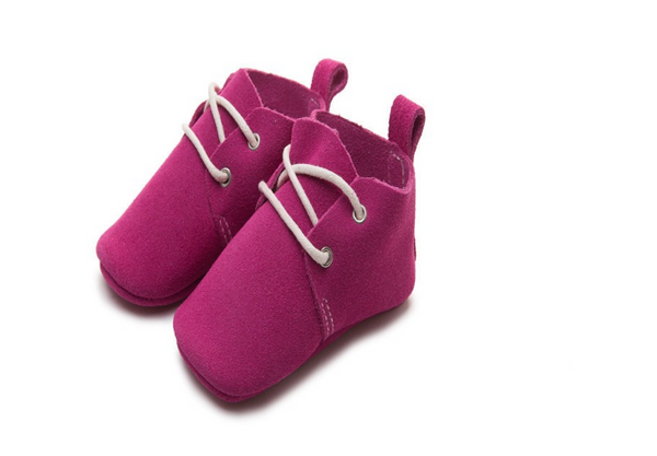 Baby Lace Up Oxford - Fuchsia Suede
