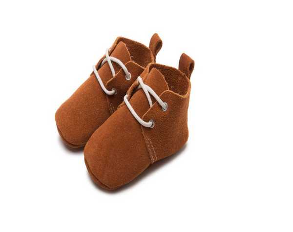 Baby Lace Up Oxford - Rust Brown Suede