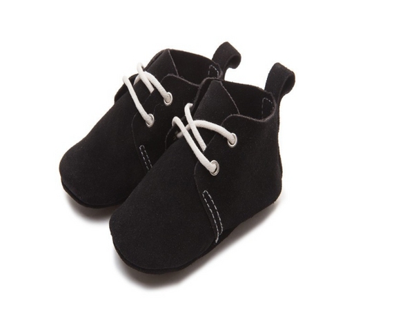 Baby Lace Up Oxford - Black Suede