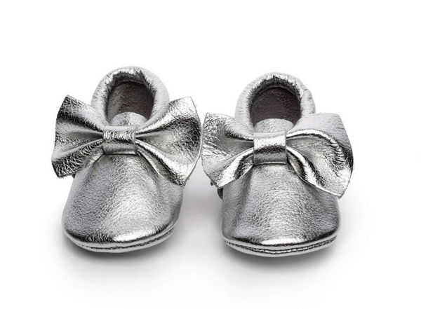 Baby Moccasins - Silver Leather with