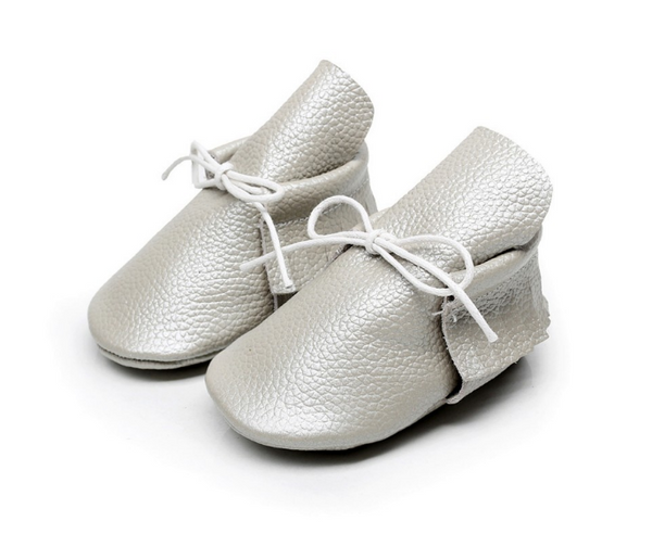 Baby Lace Up Moccasin Boots - Light Grey
