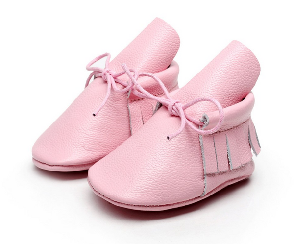 Baby Lace Up Moccasin Boots - Soft Pink