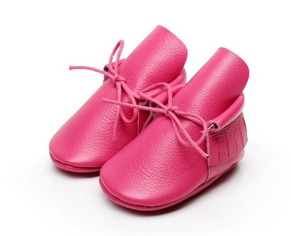 Baby Lace Up Moccasin Boots - Hot Pink