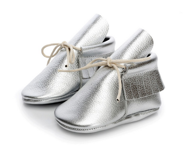 Baby Lace Up Moccasin Boots - Silver