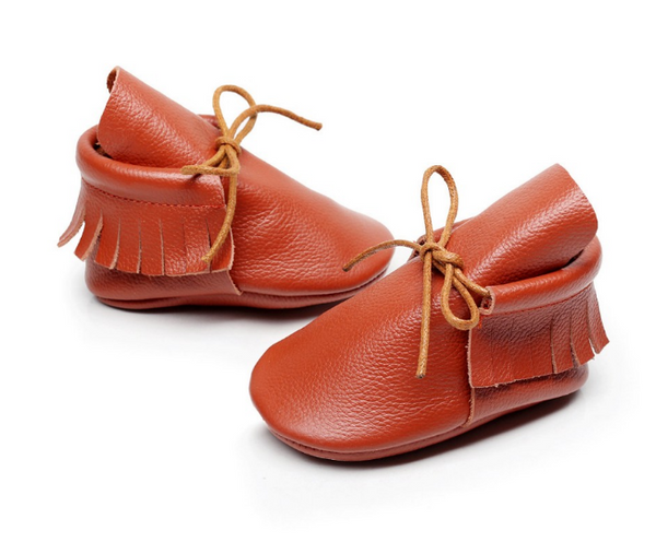 Baby Lace Up Moccasin Boots - Rust Brown