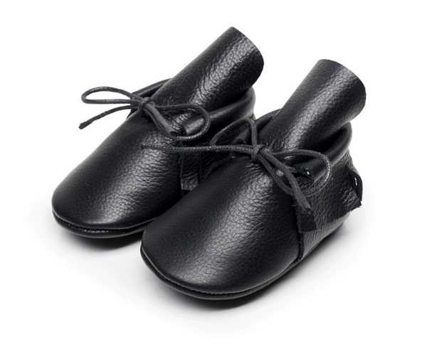 Baby Lace Up Moccasin Boots - Black