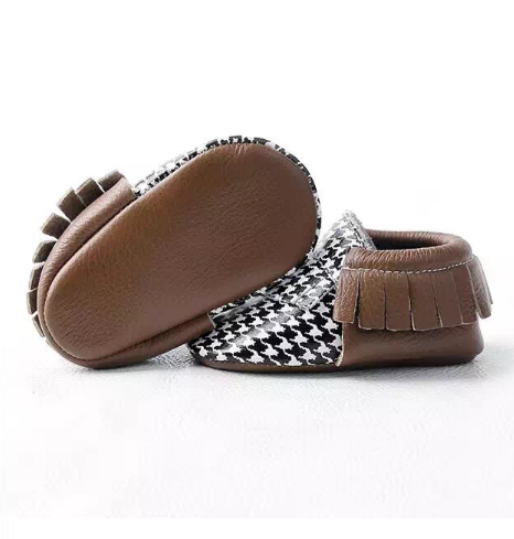 Baby Moccasins - Houndstooth and Brown Fringe