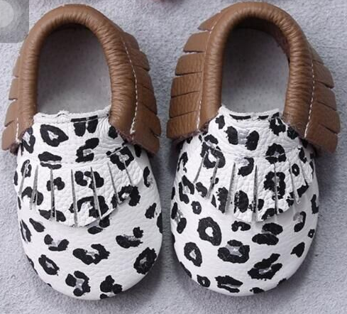 Baby Moccasins - Leopard and Brown Fringe