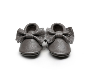Baby Moccasins - Slate Grey Leather with Bow