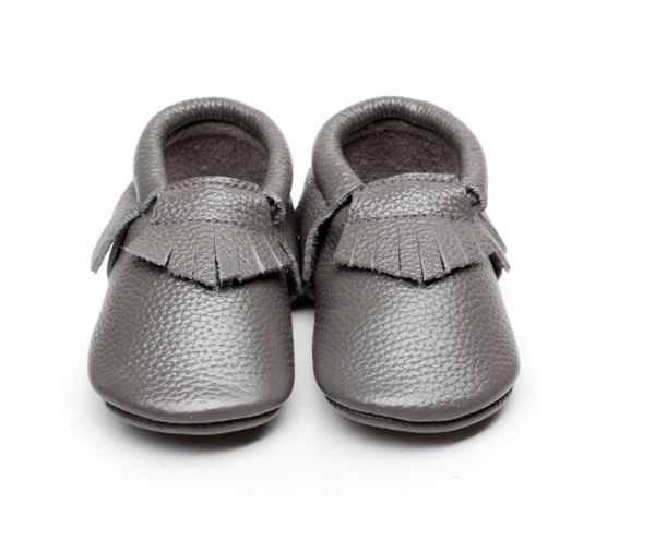 Baby Moccasins - Slate Grey Leather with Fringe