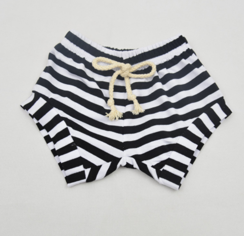 Black Kids Striped Shorts