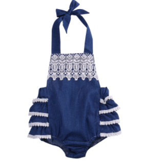 Baby/Toddler Denim Lace Romper