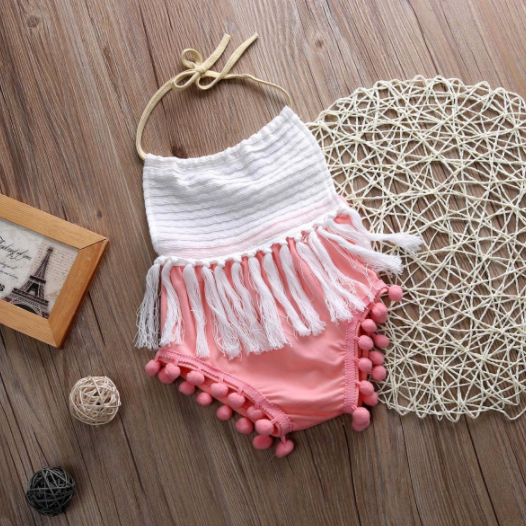 Baby/Toddler Pink and White Tassel
