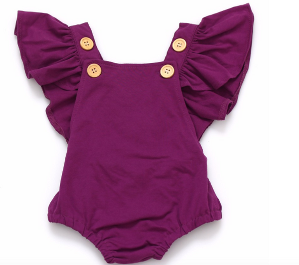 Baby/Toddler Purple Ruffle Sleeve Romper