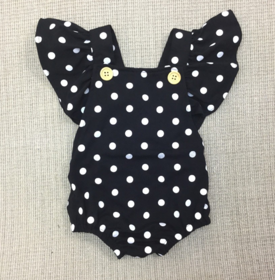 Baby/Toddler Black and White Polka Dot Ruffle Romper