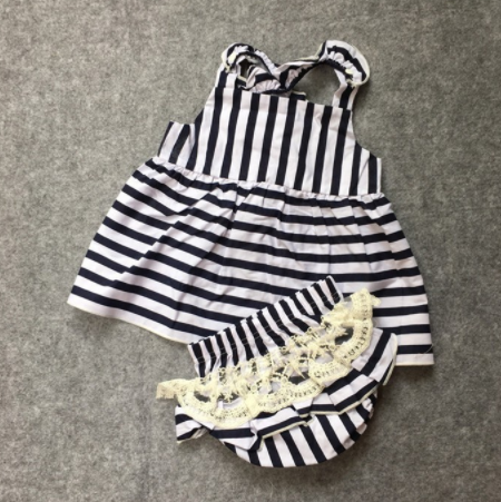 Baby/Toddler Striped Dress and Lace Bloomers