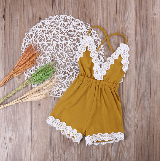 Baby/Toddler Mustard Yellow Lace Romper