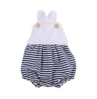 Baby/Toddler Navy and White Stripe Button Romper