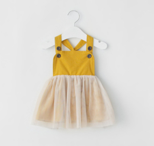 Toddler Mustard Yellow Button Dress