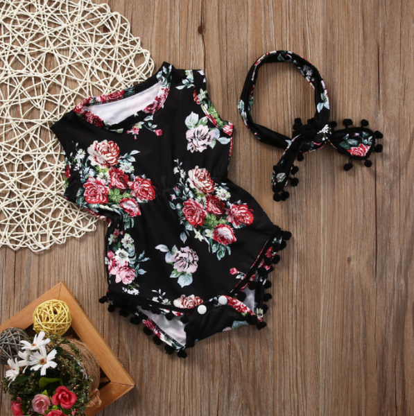Baby/Toddler Black Floral Romper/Headband Set