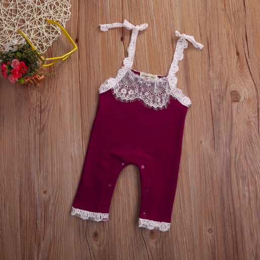 Baby/Toddler Plum Lace Romper