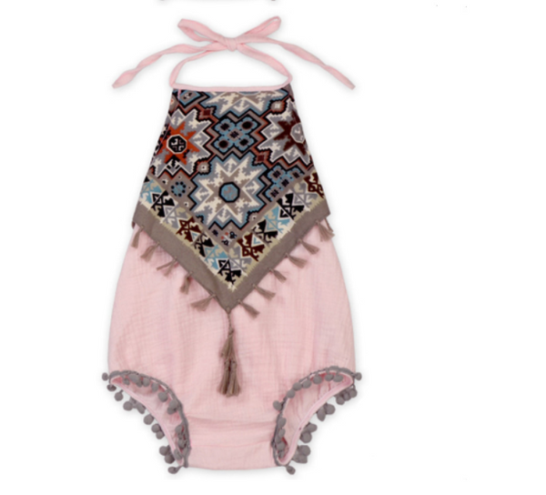 bfea8c2d7fc1 Baby Toddler Light Pink Boho Romper – Blush + Willow