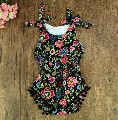 Baby/Toddler Black Mixed Floral Romper