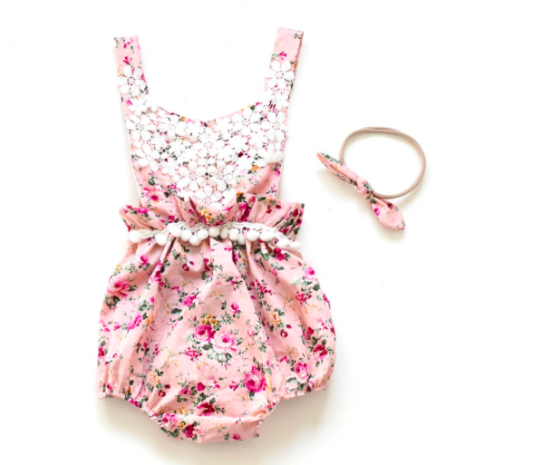 Baby/Toddler Pink Lace Floral Romper/Headband Set