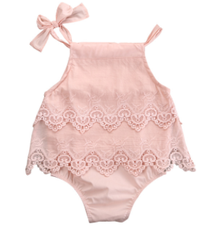 Baby/Toddler Blush Lace Bow Romper