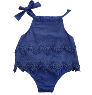 Baby/Toddler Royal Blue Lace Bow Romper