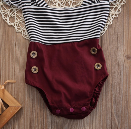 Baby/Toddler Striped/Cranberry Romper/Headband Set