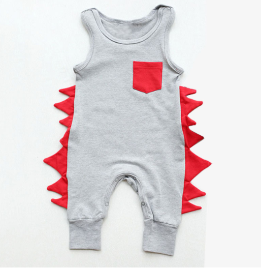 Baby/Toddler Grey and Red Dino Romper