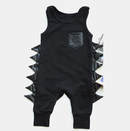 Baby/Toddler Black Dino Romper