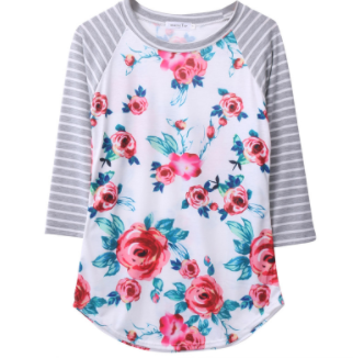 Women's Tee - Floral/Stripe 3/4 Sleeve
