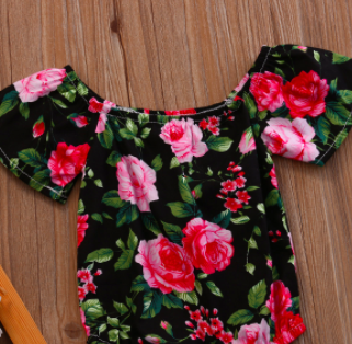 Baby/Toddler Black Roses Romper