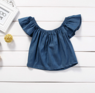 Baby/Toddler Denim Off The Shoulder Shirt