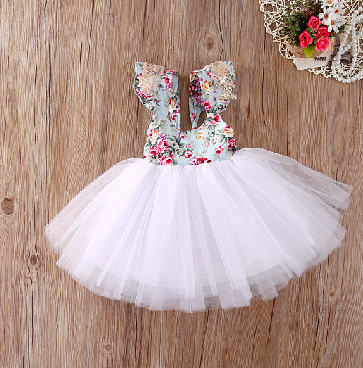 Baby/Toddler White Floral Tutu Dress