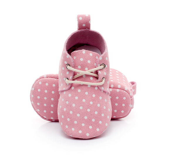 Baby Lace Up Oxford - Pink Polka Dot